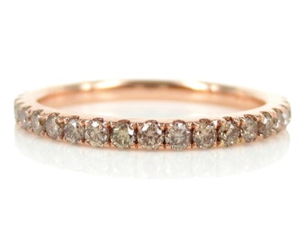 1.9mm Champagne Diamond Full Eternity Band - 18k Rose Gold  - Stackable Band - Wedding Band