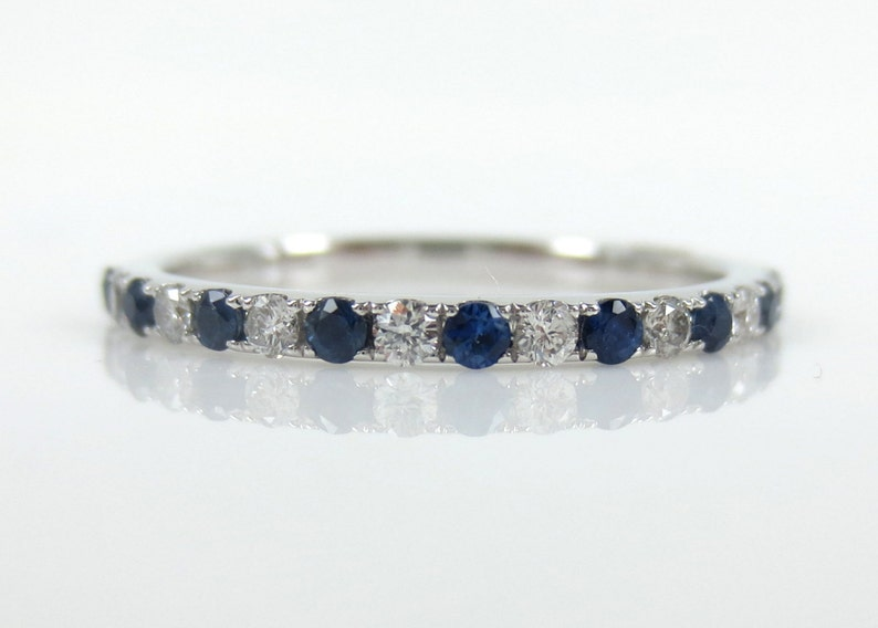 bbbd8ab8d1493 Diamond & Blue Sapphire Half-set Band - Stacking Rings- wedding Bands