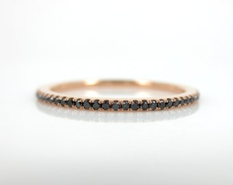 Micro Pave Black Diamond Eternity Band set in 18k Rose Gold