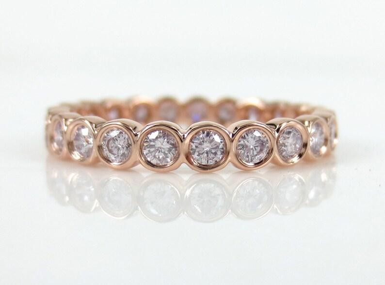 f260ac7c1 2.9mm Natural Pink Diamond Bezel Set Eternity Band 18k Rose | Etsy