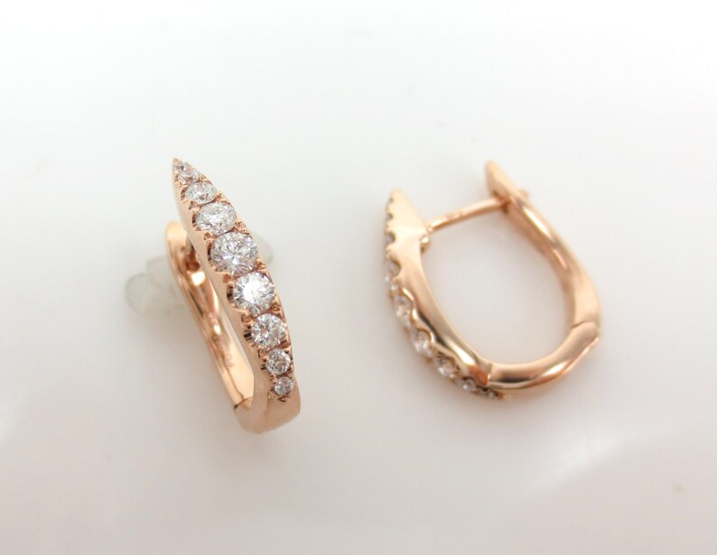 9d0c61668310b 18k Rose gold Diamond Huggie Hoop Earrings