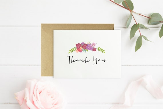 thank you card bridal shower card watercolor florals etsy