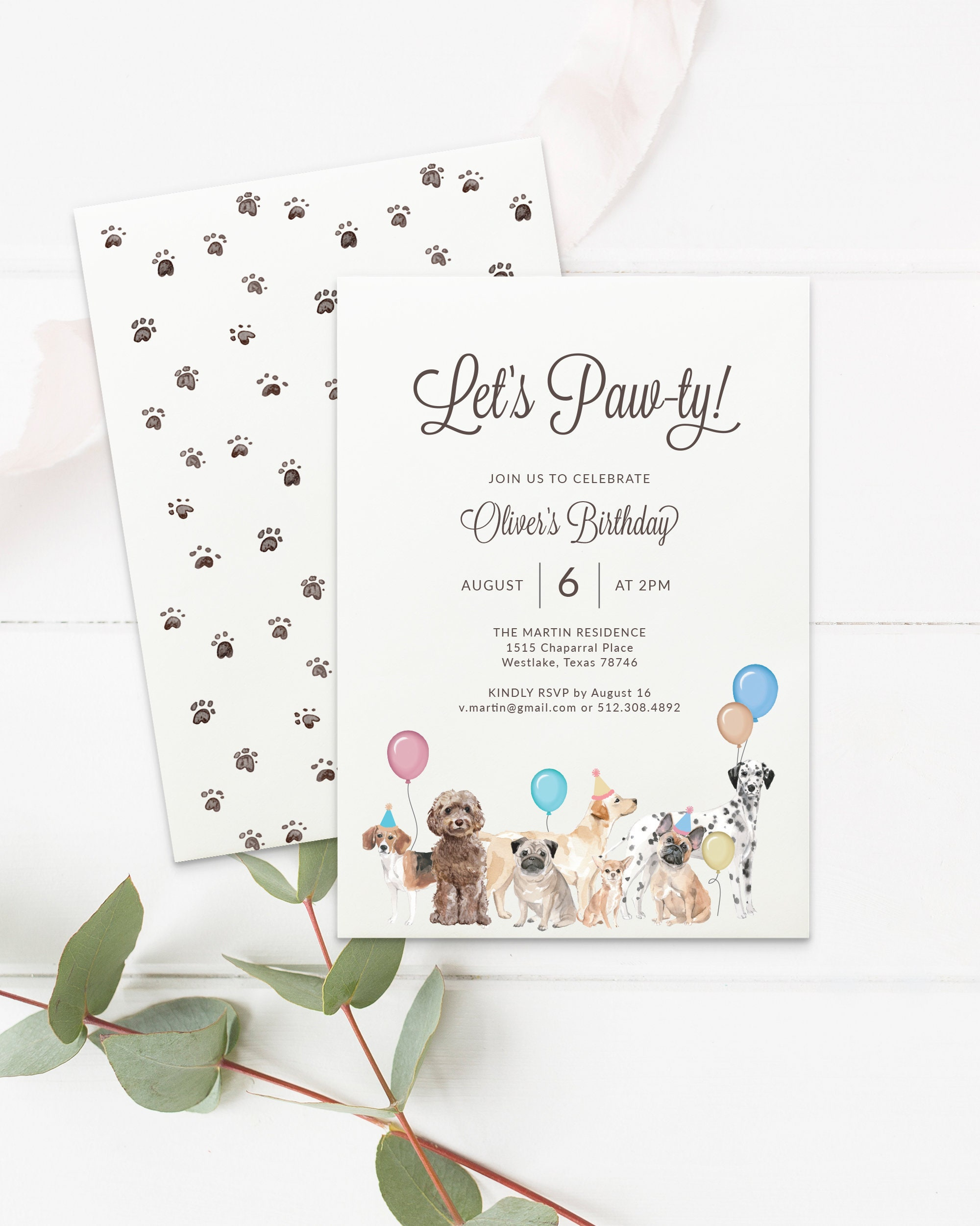 Printable Dog Party Invitation Template for Birthday, Party, or Shower.  Custom Instant Download with Templett. Custom Wording Let's Paw ty