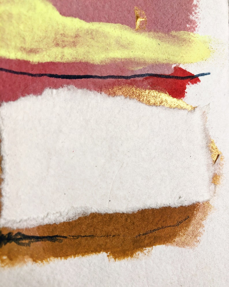 Abstract Mixed Media Landscape on Handmade Paper