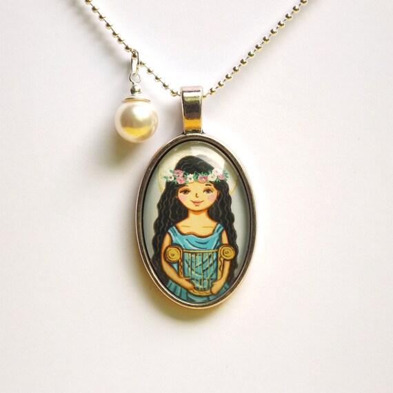 Saint cecilia pendant necklace st cecilia saint pendant saint aloadofball Gallery