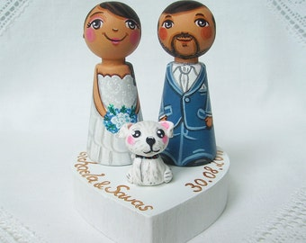 Personalized wedding cake topper Personalized cake topper Mr and mrs cake topper figurine Bride groom cake topper Dog cake topper wedding