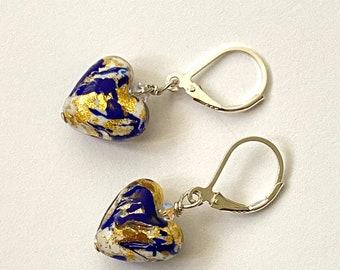 Murano Glass Mini Pale Blue Heart Sterling Silver Drop Earrings Gift Ideas for Women