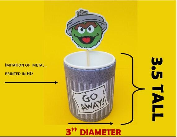 Oscar The Grouch Trash Can Bucket And Stick Face Sesame Street Candy Bag Dulceros Plaza Sesamo Botecitos Y Caritas