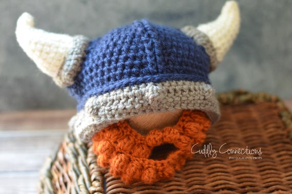Viking Baby Beard Hat Crochet Viking Hat Viking Helmet Etsy