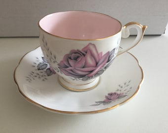 """Vintage Queen Anne """"Fair Lady"""" Tea Cup and Saucer 1950s"""