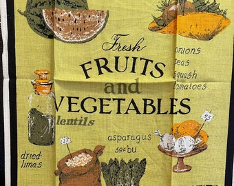 Kitchen Towel Vintage Luther Travis Vegetables & Fruits with Prices Chartreuse Green Black