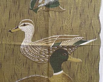 Kitchen Towel, Vintage, Wild Ducks, Lois Long, Tea Towel birds, green grass, Woodsy Designer Signed
