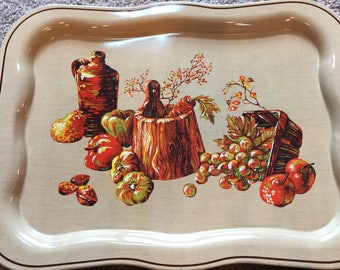 Kitchen Serving Tray, Fall Outdoor, Metal, Tan with a Bottle, Bucket, Fruit, Vegetable, Burnt Orange, Americana Kitcheware