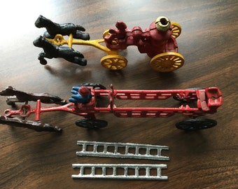 Two Fire Trucks, Toys, Vintage Cast Iron