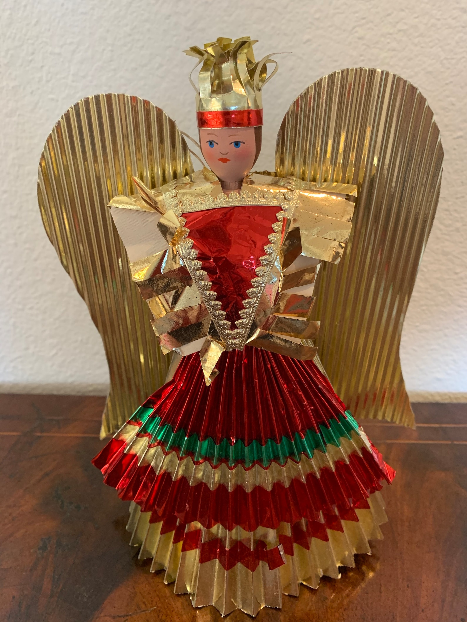 Foil Angel, Red and Gold, Pleated Skirt, Tree Topper, Hanging Ornament or Stand Up Vintage Christmas MCM Mod Decoration