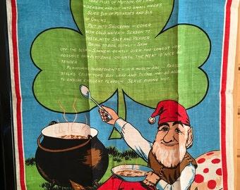 Irish Stew Towel, Unusual Great Graphics, Linen