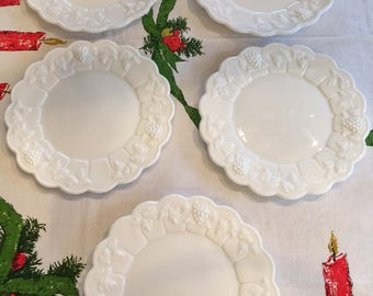 Five Milk Glass Salad Plates, Westmorland, Grape Pattern, Exc. Condition