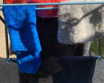 Plush Fake Fur Fabric, Fleece Your Choice, Destash 1970s & 80s, Longer Pile, Browns Blue Black Grays, Sizes Vary