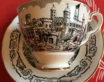 Two Black and White Tea Cups and Saucers, Castles, Beefeater, Excellent Condition, More Available