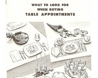 """Vintage Book, """"Buying Table Appointments"""", 1960s, Sears, Advice Table Settings Scapes, Entertaining"""