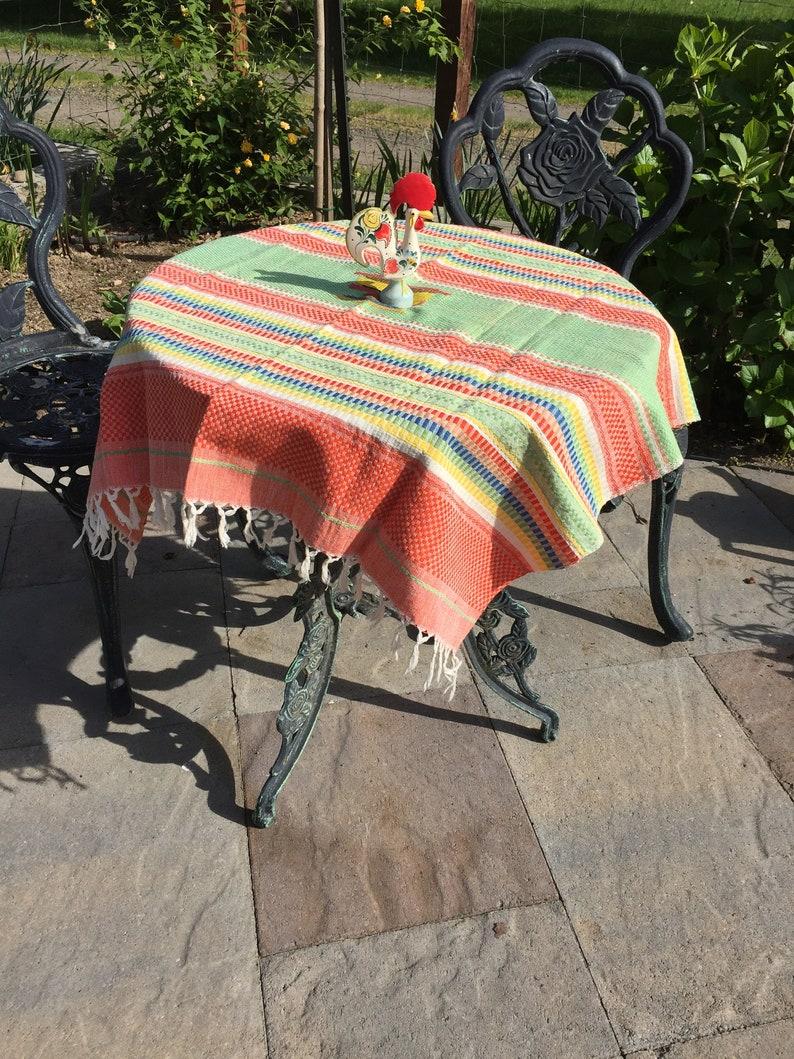 SouthwestMexican Theme Vintage Tablecloth Fringe Dusty Orange and Jadeite Green Woven Four Napkins