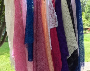 Crafters Pack, 17 Pieces, Lace Fabric, Many Colors, Mostly Nylon