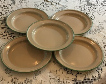 """Five Green and Cream Enamel Plates, 8 1/2"""""""