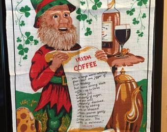 Irish Coffee Kitchen Towel, Vintage, Linen, Leprechaun, Ireland