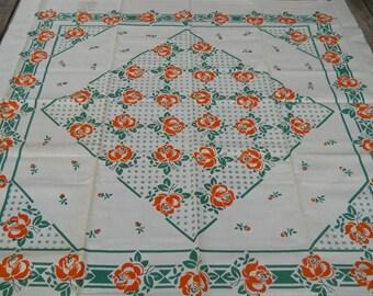 Vintage Tablecloth Green and Orange, NOS, 6 napkins, 1940s, geometric, bold, Printed, Burnt Orange