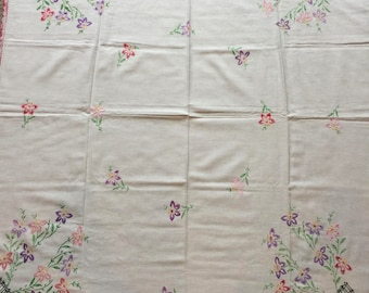 Floral Embroidered Tablecloth, Lovely Spring Tones, Black Picket Fence