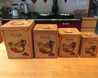 Four Wood Canisters, Vintage Kitchen, Coffee and Fruit Motif, Never used