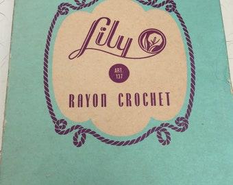 Crochet Thread, Lily Brand, 12 rolls in Box, Rayon, Cream/White color