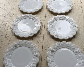 Six Milk Glass Bread and Butter Plates, Westmorland, Grape Pattern, Exc. Condition