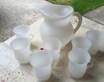 Kool-Aid Pitcher and 7 Cups, White Plastic, Smiley Face