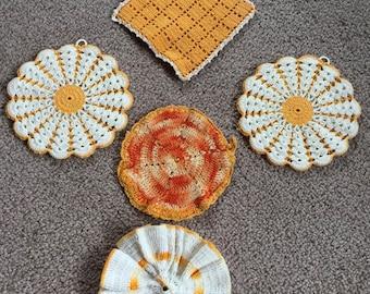 Vintage Pot Holders, Trivets, Doilies, Mug Mats, Collection of Five, Gold, Orange and Yellow tones, Clean, Burnt Orange