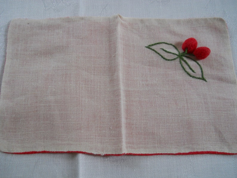 Eight Cocktail Napkins White with Cherries Linen Red on the Back
