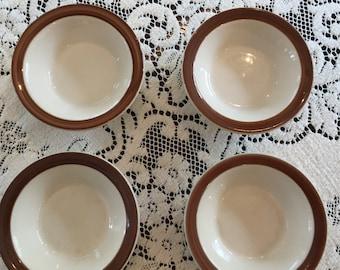Four Sauce Bowls, Monkey Bowls, Restaurant Ware, Shenango, Brown Edge