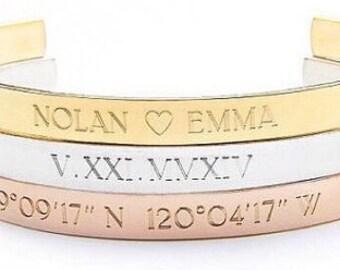 ROMAN NUMERAL bracelet - roman numeral cuff - wedding date roman numerals -  personalized roman numeral date - roman numeral bangle - cuff