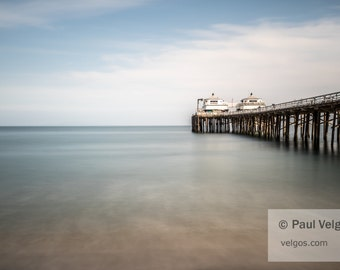Malibu Pier Wall Art Print - Malibu California Canvas Prints, Malibu Home Office Decor, Malibu Black and White Photography, Oversized Large