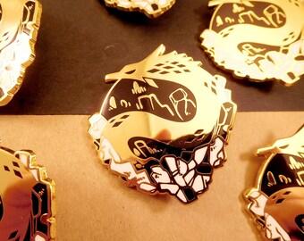 Smaugust Mineral Dragon hard enamel pin   5cm   original design   fantasy gift