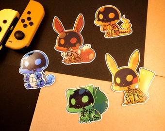 Skeleton pokemon sticker   Bulbasaur, Charmander, Squitle, Pikachu and Eevee   custom shaped gloss   journal planner stickers   indoor use