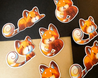 Little Red Panda   custom shaped gloss   journal planner stickers   indoor use