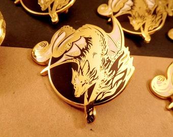 Smaugust Canine Dragon hard enamel pin   5cm   original design   fantasy gift