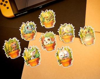 Grass pokemon starter sticker   Bulbasaur, Chikorita, Treecko, Turtwig, etc..   custom shaped gloss   journal planner stickers   indoor use