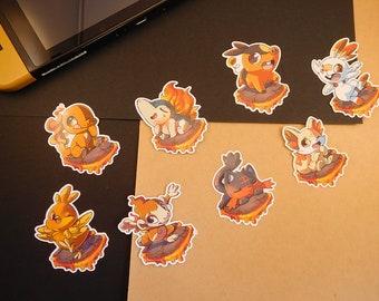 Fire pokemon starter sticker   Charmander, Cyndaquil, Torchic, Chimchar, etc..   custom shaped gloss   journal planner stickers   indoor use