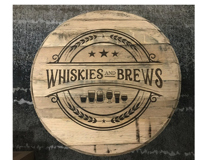 Authentic Custom Laser Engraved Whiskey/Bourbon Barrel Head Sign - Great for The Home Bar, Garage Bar, Man Cave