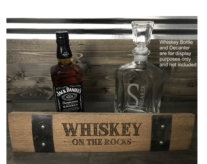 Whiskey on the Rocks Barrel Stave - Authentic Custom Laser Engraved Whiskey Barrel Stave - Great for The Home Bar, Garage Bar, Man Cave