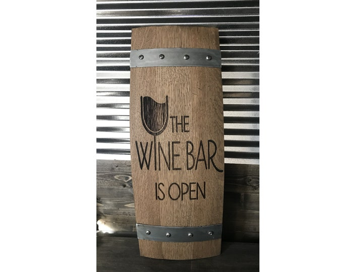Free Shipping! Authentic Custom Laser Engraved Red Wine Barrel Stave Sign - Great for The Home Bar, Wine Cellar, Man Cave, She Shed