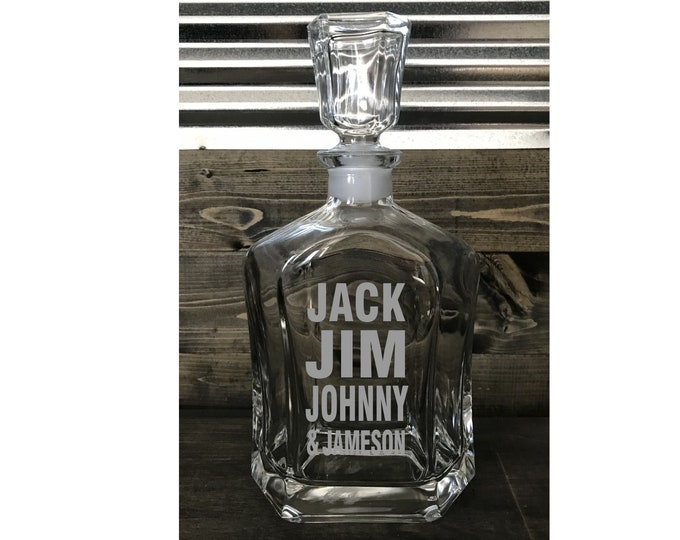New ! Whiskey Decanter - Personalized 23.75 oz Whiskey Decanter - Perfect Gift for Birthdays, Christmas, Man Cave, Home Bar and More!