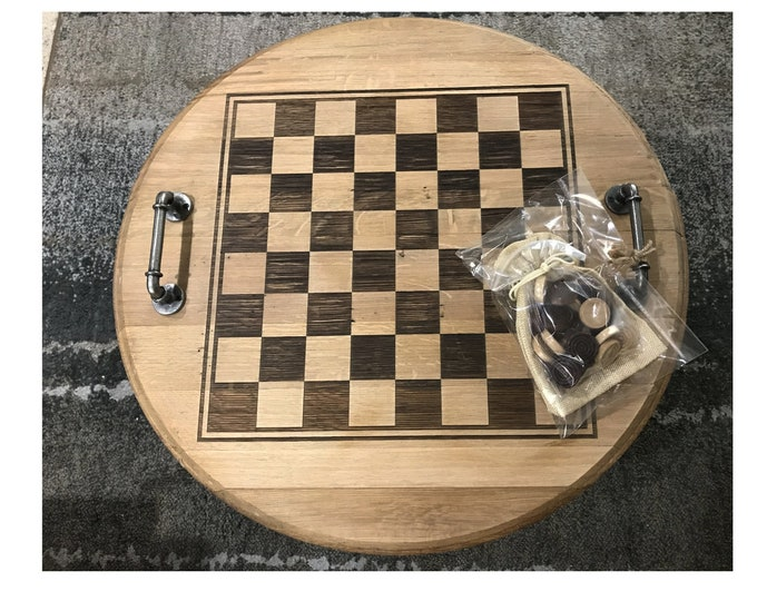 Authentic Custom Laser Engraved Whiskey/Bourbon Barrel Head Checkerboard with Checkers - Great for The Home Bar, Family Room, Man Cave